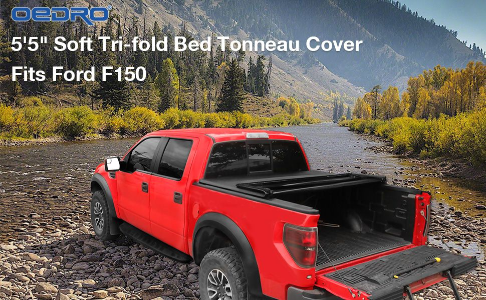 Oedro Upgraded Best Soft Tri Fold Truck Bed Tonneau Cover For