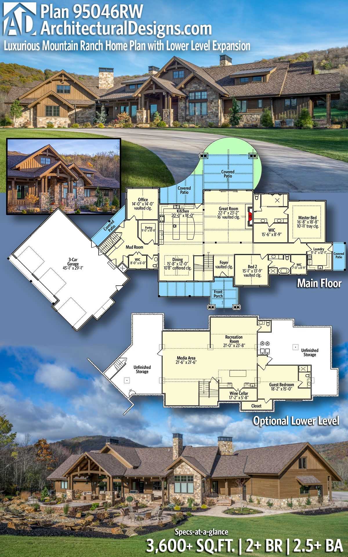 Plan 95046RW: Luxurious Mountain Ranch Home Plan with Lower ... on ranch home floor plans with walkout basement, floor plans open kitchen with cathedral ceiling, ranch house with cathedral ceiling, ranch house vaulted ceiling,