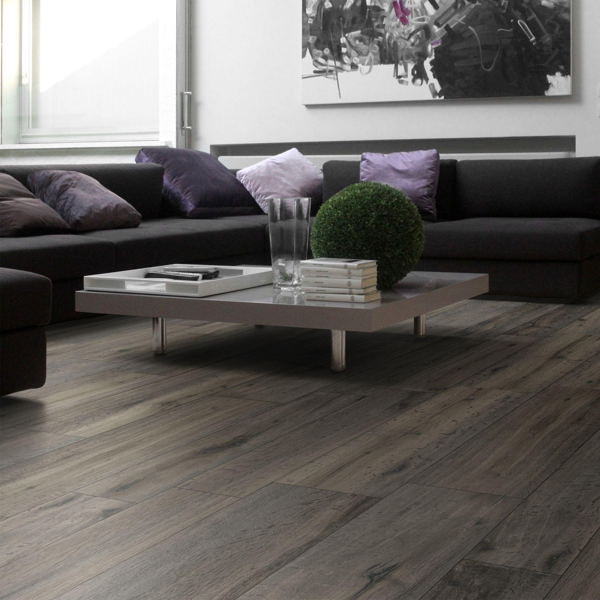 Grey wooden floor tiles to create wood effect look
