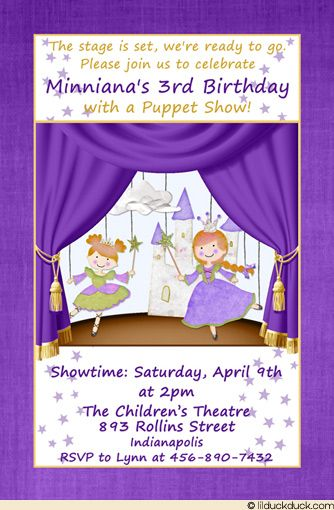 Puppet Show Birthday Invitation Can