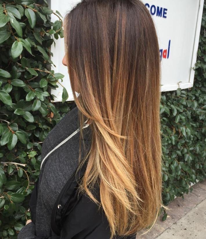 Caramel Highlights On Black Hair Straight