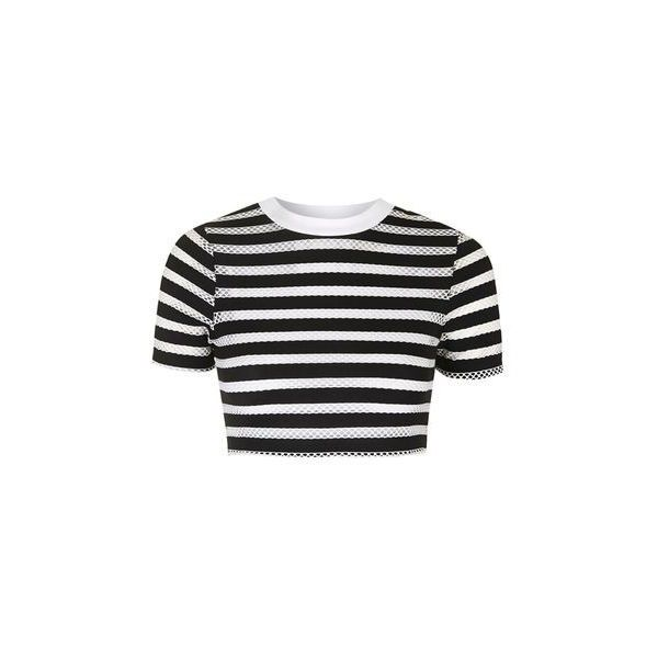 0d71c9b108f TopShop Striped Airtex Crop Tee ($23) ❤ liked on Polyvore featuring tops, t- shirts, monochrome, striped top, crop t shirt, sports t shirts, stripe top  and ...