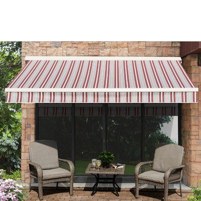 Sunjoy 9 5 Ft W X 9 Ft D Retractable Patio Awning Patio Awning Patio Custom Awnings