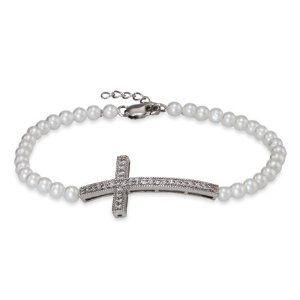 Sterling Silver Pearl Sideways Cross Bracelet