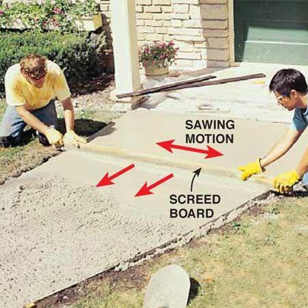 How To Pour A Concrete Sidewalk Backyard Landscaping Concrete Diy Concrete
