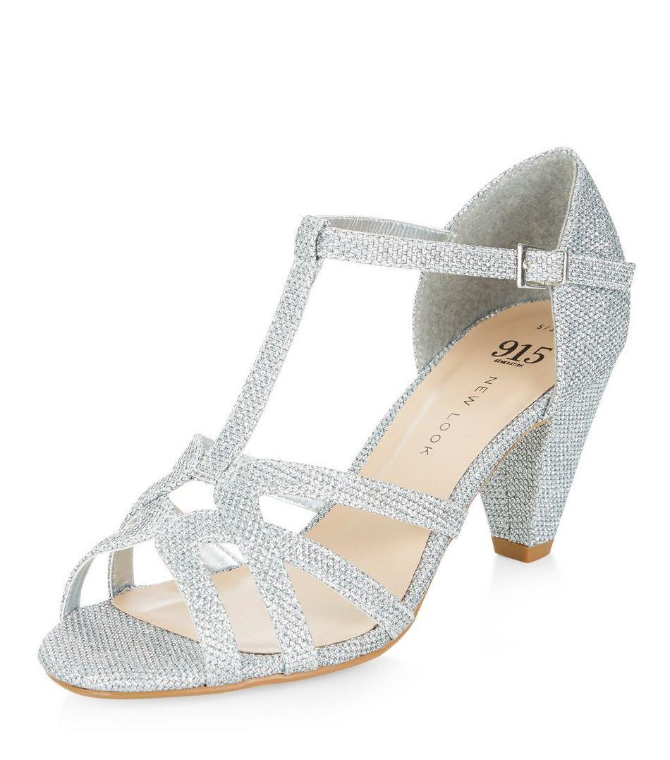 e7c6617669b Teens Silver Glitter T-Bar Sandals