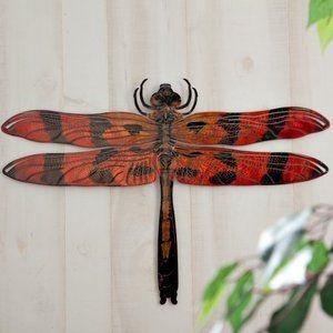 3D Dragonfly Metal Outdoor Wall Art