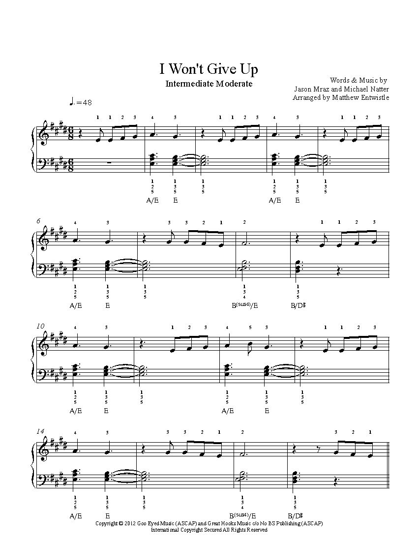 I Won T Give Up By Jason Mraz Piano Sheet Music Intermediate