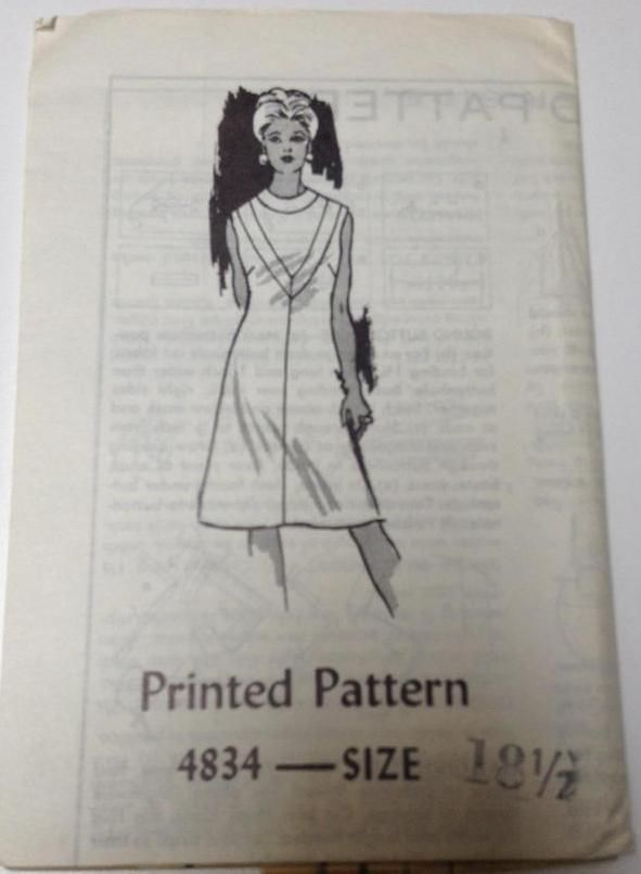 Vtg 60s 70s Mail Order Sewing Pattern Dress Size 18 1/2 FF