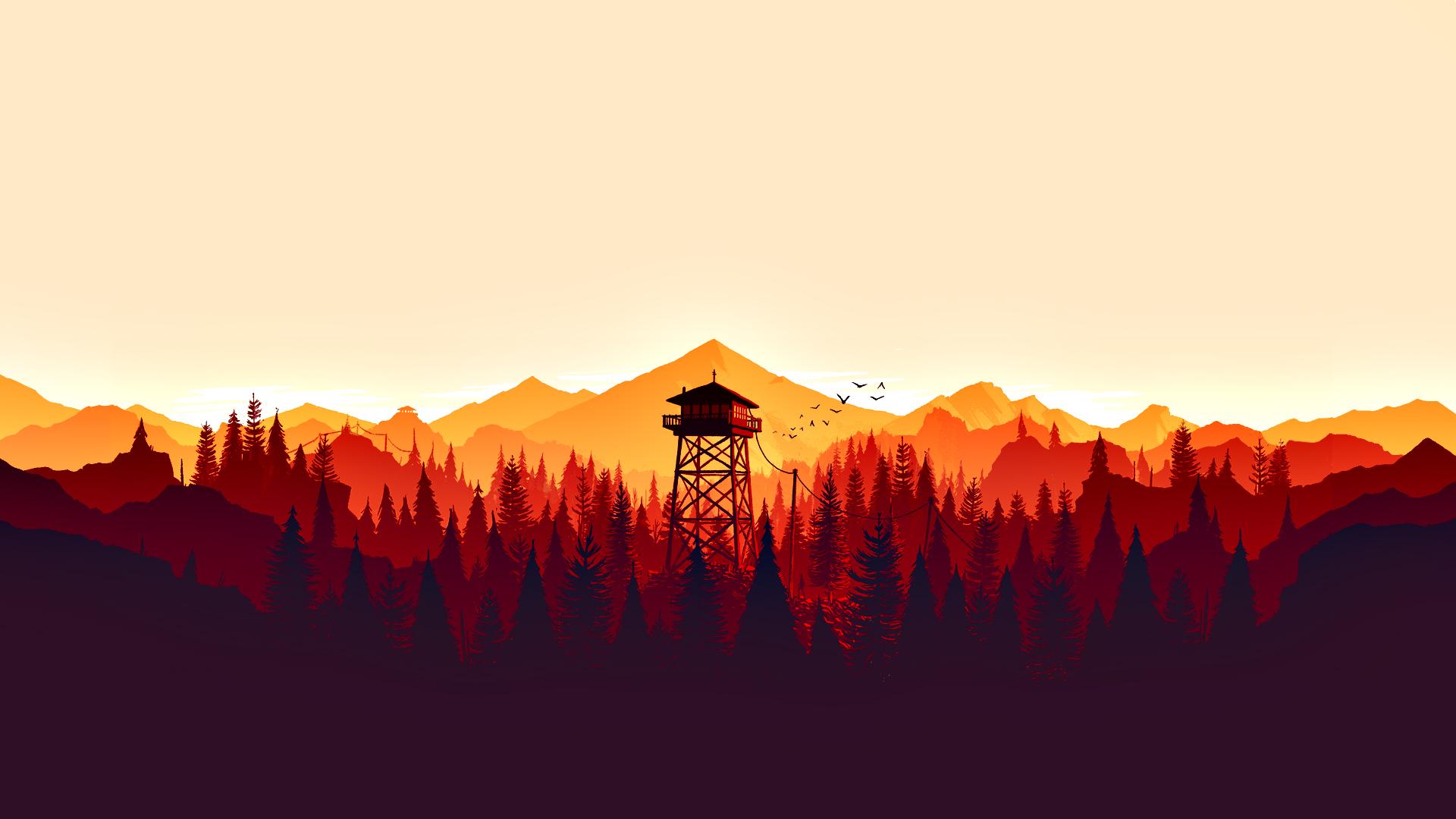 Firewatch Video Games Forest Fire Lookout Tower Minimalism Digital Art Colorful Lan Desktop Wallpaper Art Minimal Wallpaper Minimalist Wallpaper