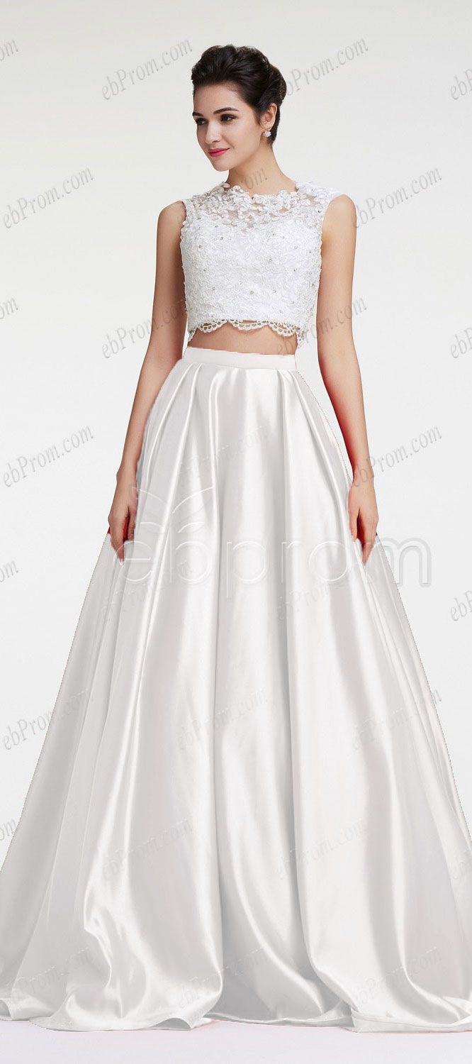16197a8d84e1 White two piece ball gown prom dress pageant dress beaded lace backless prom  dress