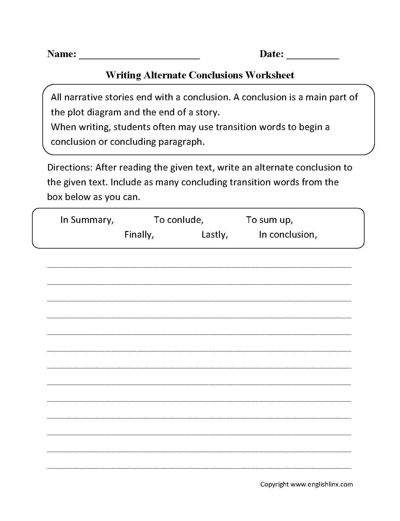 Writing Alternate Conclusions Worksheets