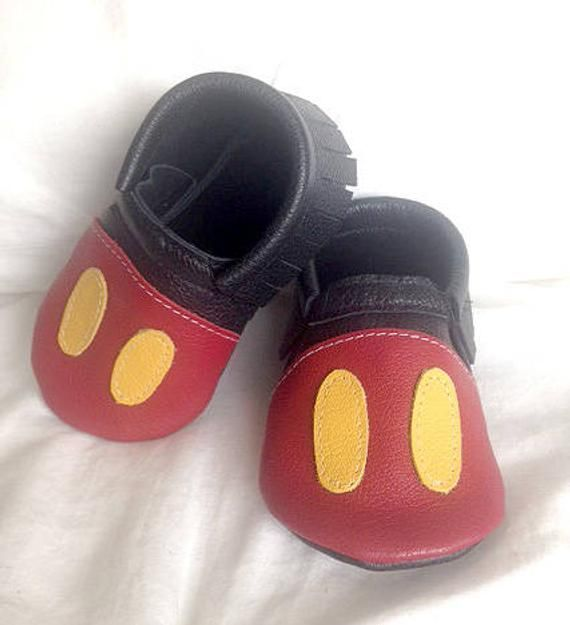 040c26e49ad71 Mickey Mouse inspired leather baby moccasin toddler infant mocs soft ...