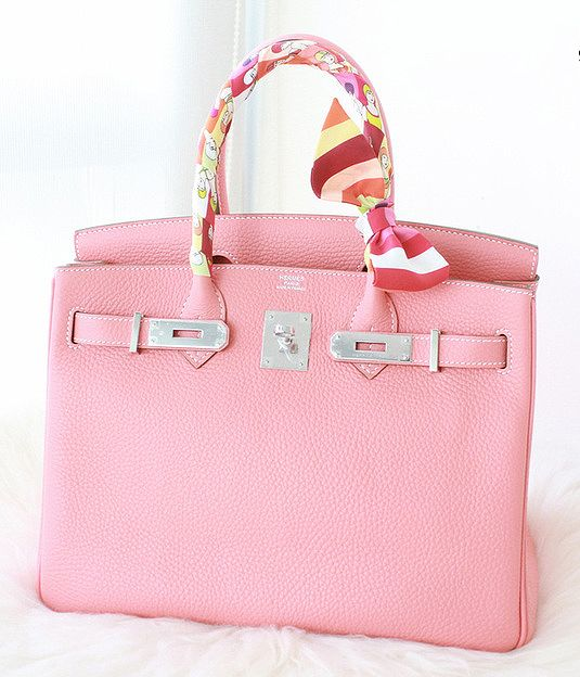 d28f6861e0ac Pink Birkin bag and Twilly.