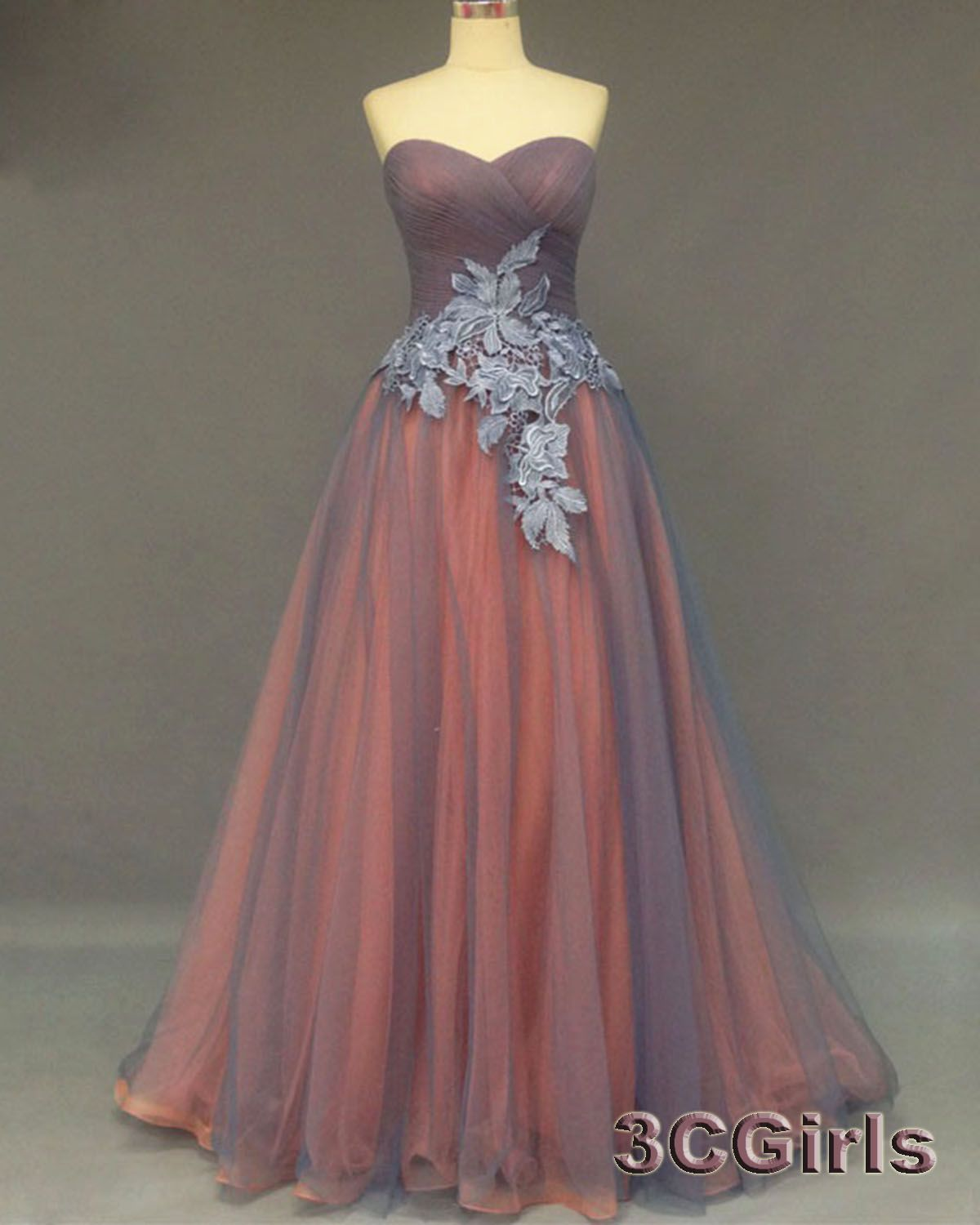 Cute Grey Tulle Strapless Prom Dress Bridesmaid Dress 2016