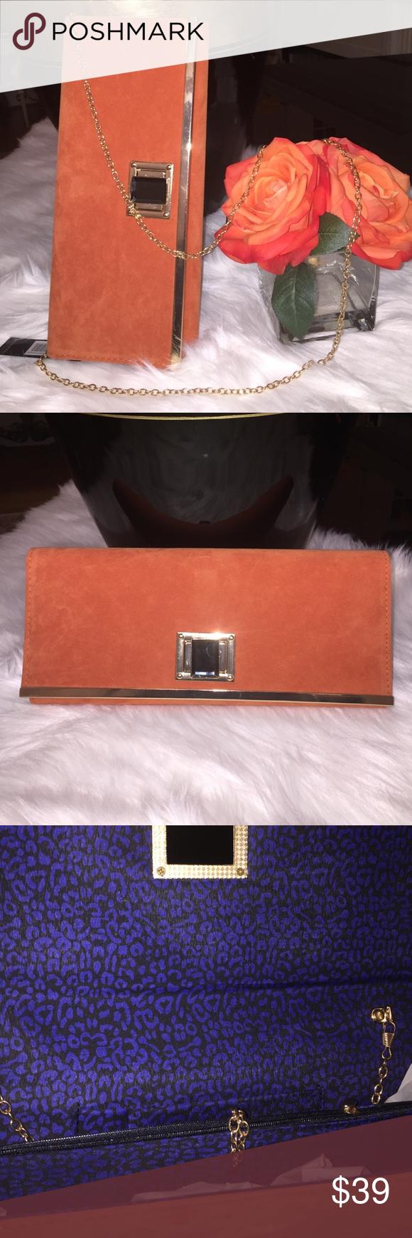 Rebecca Rifka Burnt Orange Clutch Shoulder Bag