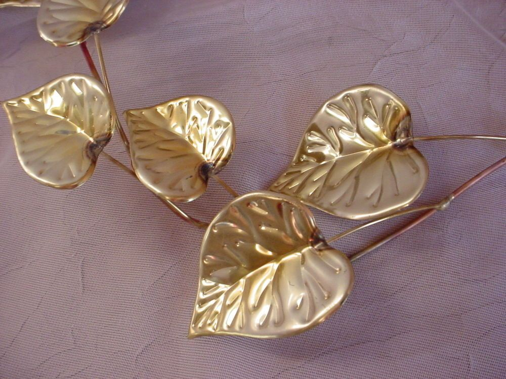 Vintage Copper and Brass tone  Leaves Metal Sculpture Spray Wall Decor 2 pieces
