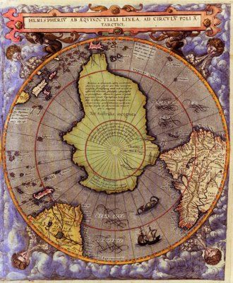 Superb World Map Of The Northern And Southern Hemisphere Published In 1593 By The  Dutch Cartographer And