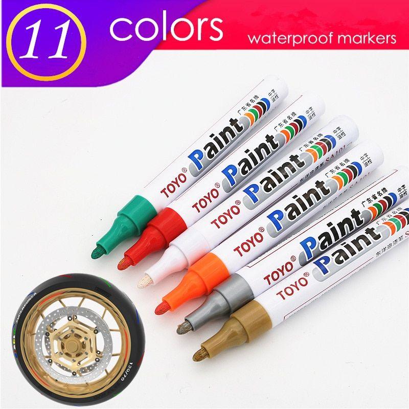 1pcs Colorful Marker Waterproof Lasting White Markers Tire Tread Rubber Fabric Paint Metal Face Permanent Toyo P Paint Marker Pen Fabric Paint Pens Marker Pen