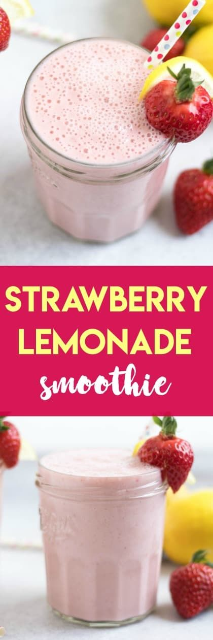 Strawberry Lemonade Smoothie Strawberry Lemonade Smoothie. This smoothie is like sunshine in a cup--light and refreshing, a simple smoothie the whole family will love with fresh strawberries and there perfect touch of lemon.