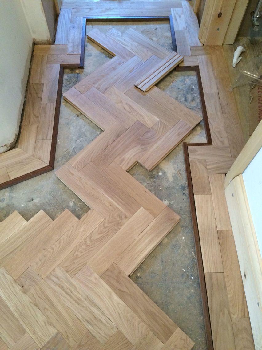Oak herringbone pattern. Wood floor design, House