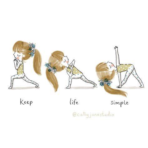 keep life simple  yoga art yoga cartoon keep life simple