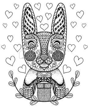 zentangle: Hand drawn Easter Rabbit with gift and hearts in doodle, patterned bunny in zentangle tribal style for coloring pages, tattoo or artistically ethnic ornamental  prints. Animal vector illustration.