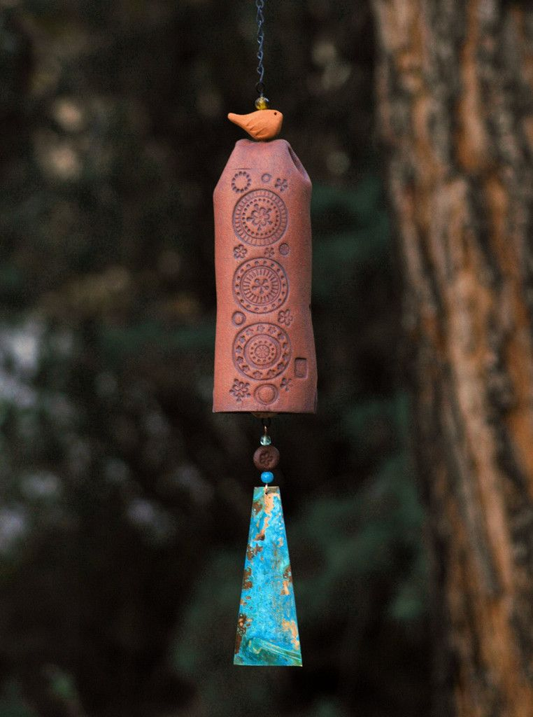 Ceramic Wind Chime Garden Bell With Circle Pattern Patina Copper And Bird Accent Rustic Decor