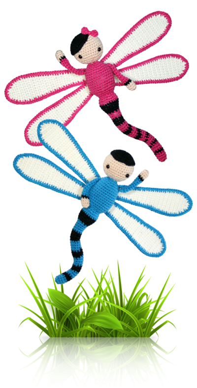 Dragonflies Dave and Lisa - crochet amigurumi pattern by Zabbez / Bas den Braver
