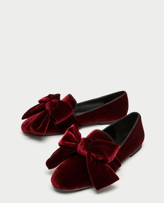 44ea7c3f971 Image 5 of VELVET LOAFERS WITH BOW from Zara Fall Flats