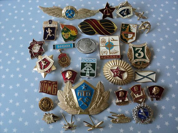 Russian Military Pins Soviet Union Hammer And Sickle Gold Enamel