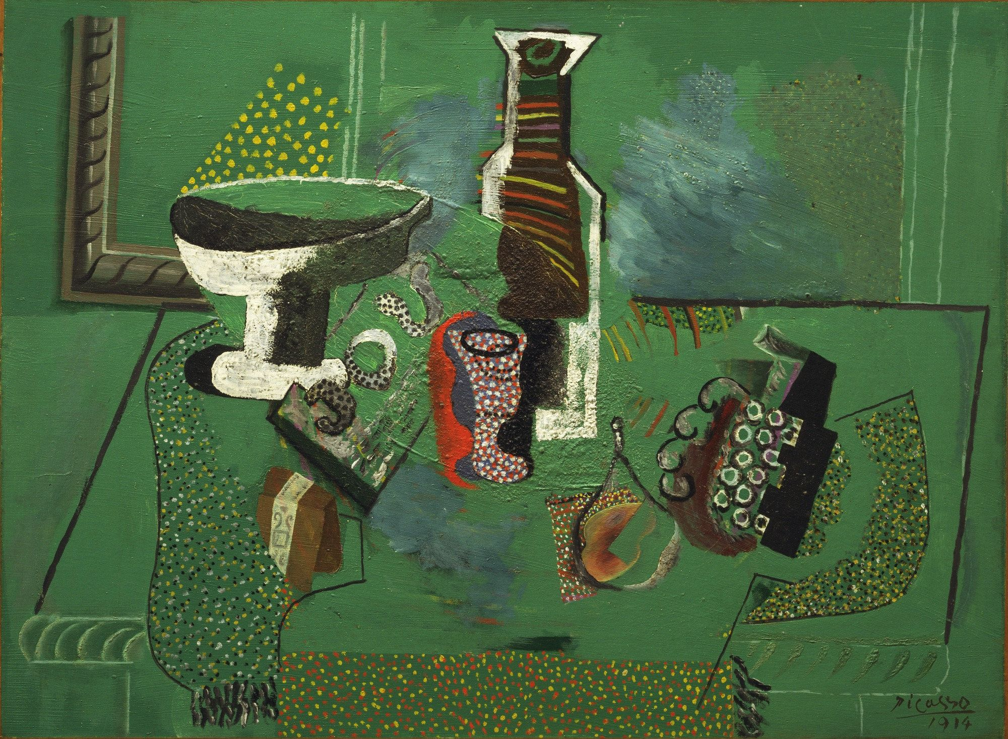 Fl 5 Pablo Picasso. Green Still Life. Avignon, summer 1914. Oil on canvas.  Lillie P. Bliss Collection. Painting and Sculpture