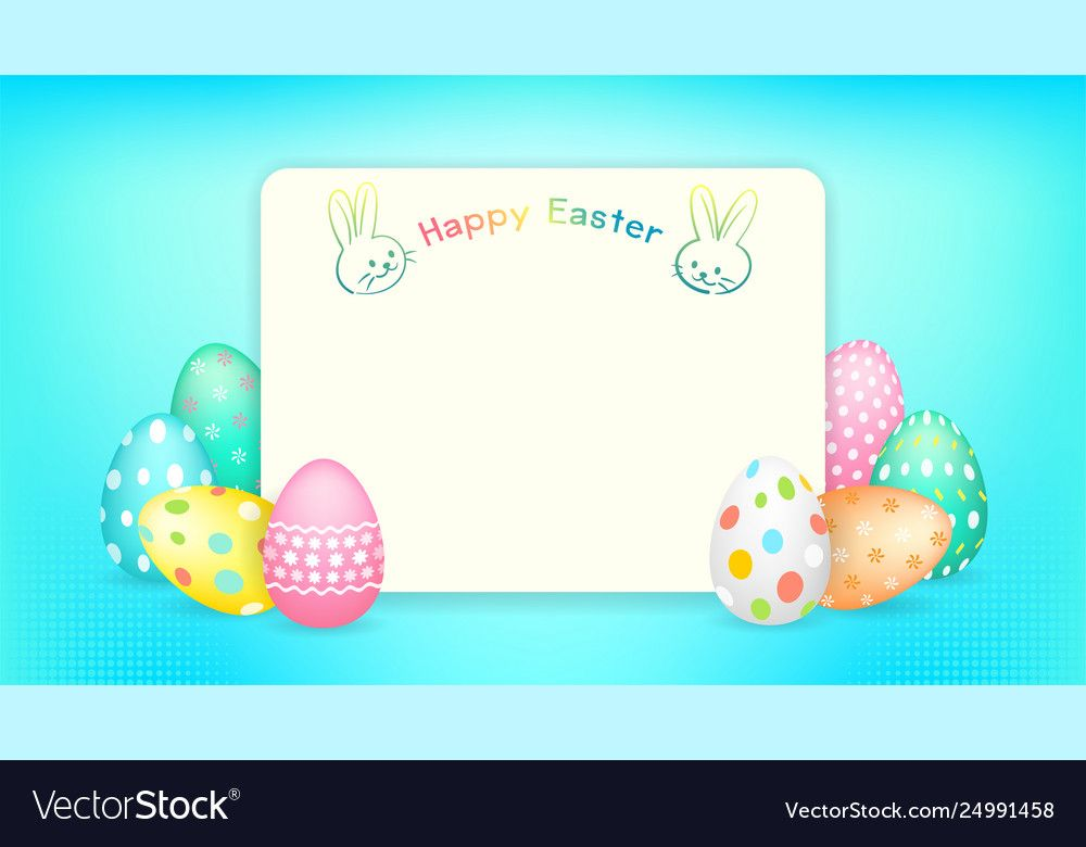 Happy Easter Banner With Copy Space And Easter Vector Image Ad Banner Easter Happy Copy Ad Gift Card Template Card Template Happy Easter Banner