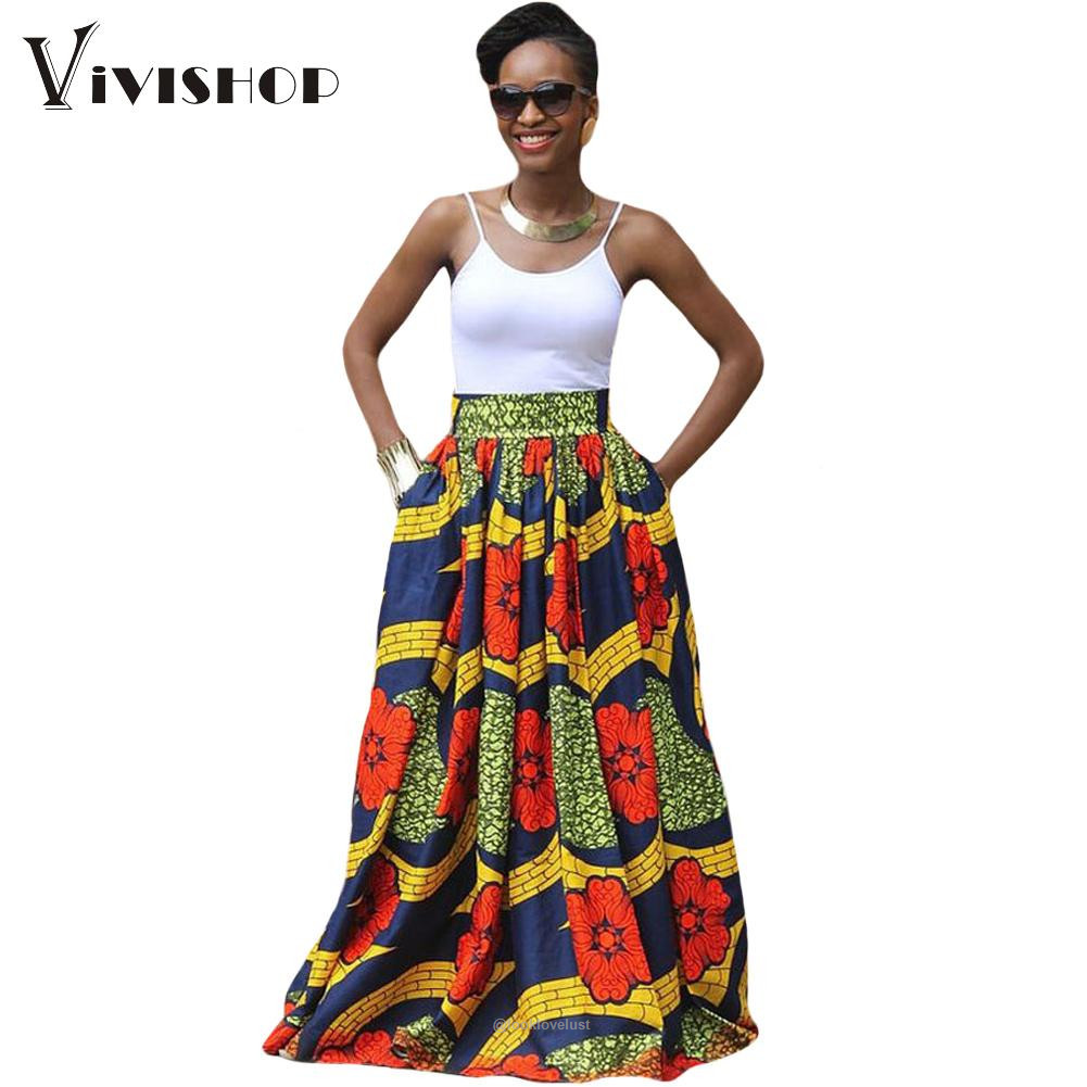 f9e0a6c7125 African Print Long Skirt Ankara Dashiki High Waist A Line Maxi Umbrella  Skirt - - Skirts