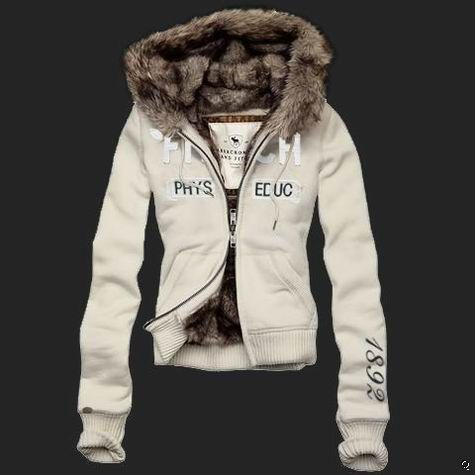 d0db57332c Abercrombie and Fitch Womens phys educ Fur Hoodie white ...