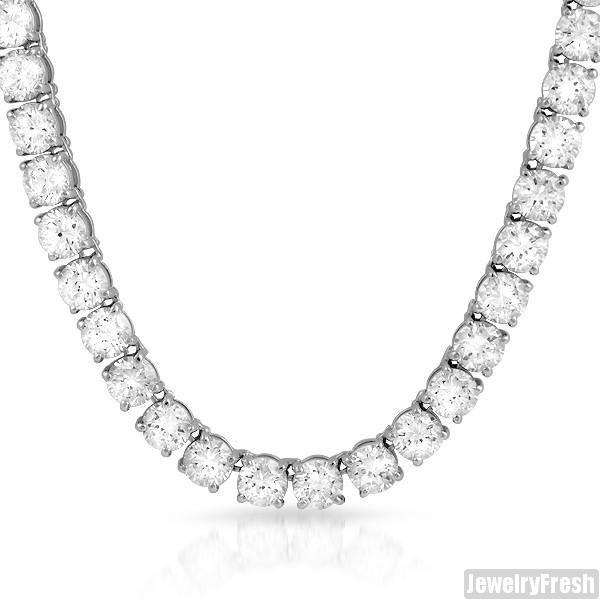 Rhodium Big Stone Vvs Simulated Diamond Tennis Chain Diamond Jewelry Necklace