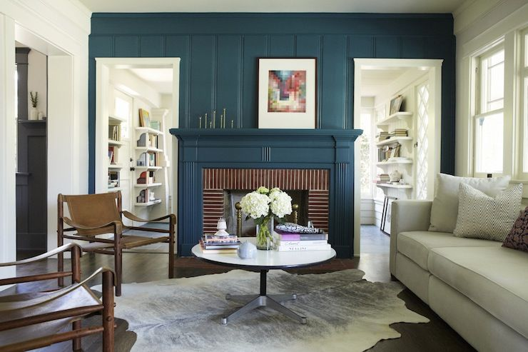 Teal Fireplace Eclectic Living Room Simo Design Fireplace Accent Walls Red Brick Fireplaces Home
