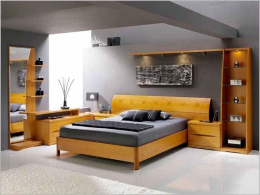 minimalist overhead lighting plus glass shelves with narrow long mirror on cozy men bedroom ideas - Bedroom Designs Men