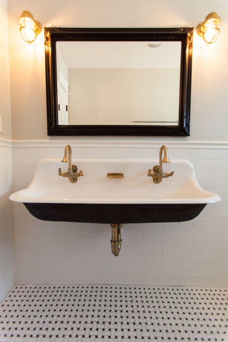 Trough sink with brass hardware bathroom renovations bathroom renos bathroom ideas laundry in