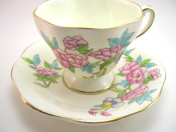 Antique Foley Tea cup and saucer set Yellow with Bouquet of