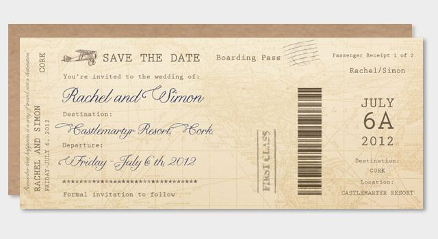 Boarding Pass Save the Date-pretty as a picture.ie | vintage ...
