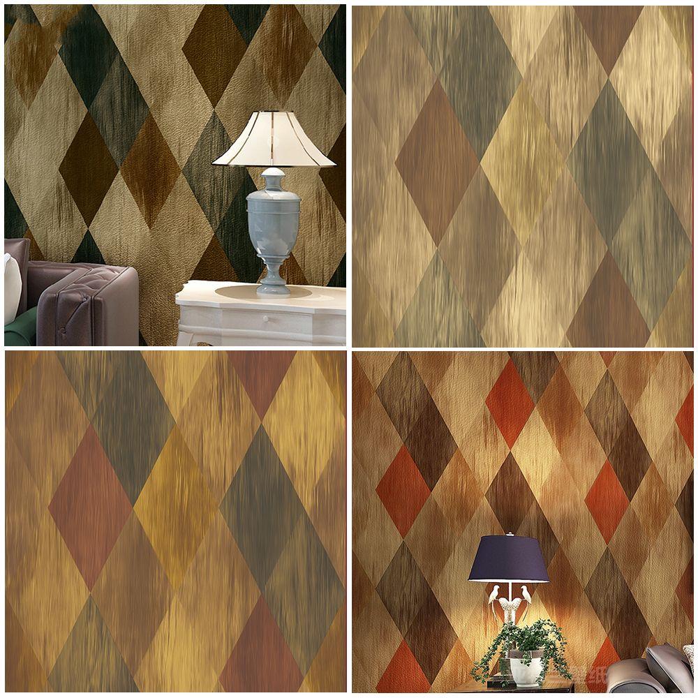 Haok Home PVC Vinyl Vintage Geometric Diamond 3D Wallpaper Living Room Bedroom Wall Decoration