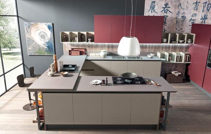 Cucine Moderne - Marina Line - Rosso - Febal Casa | Κουζίνα ...