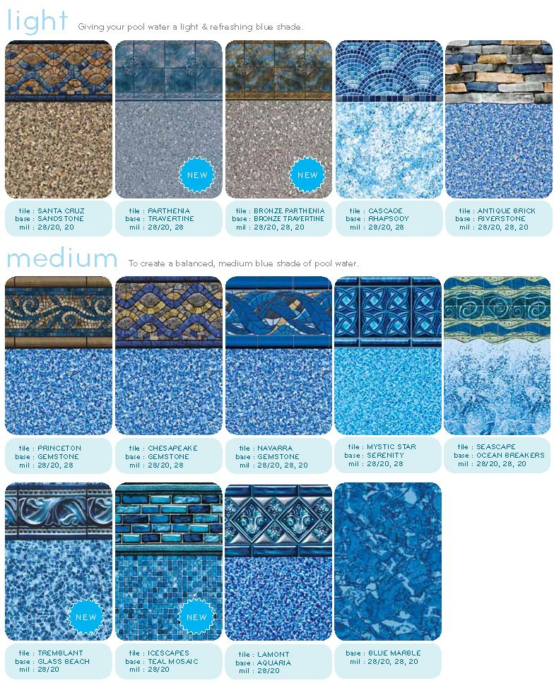 Jms inground pool liners swimming pool liner patterns for Pool liners
