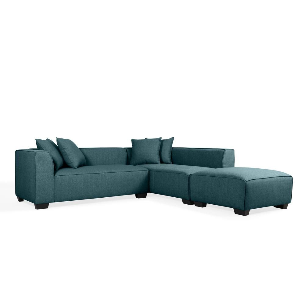 Handy Living Phoenix Caribbean Blue Linen Sectional Sofa ...