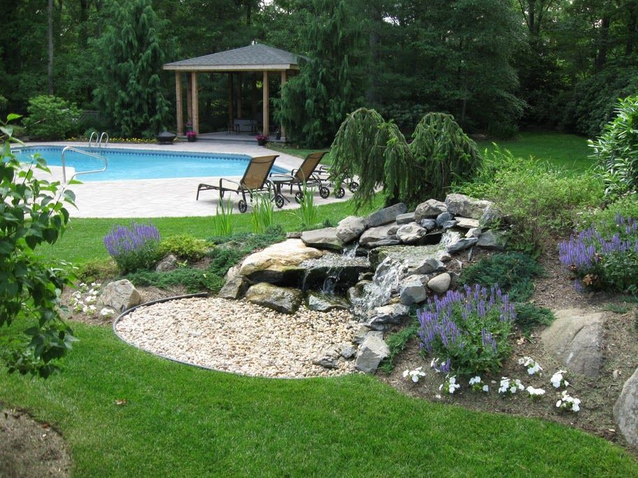 landscaping ideas to hide electrical box pool landscape with waterfall garden