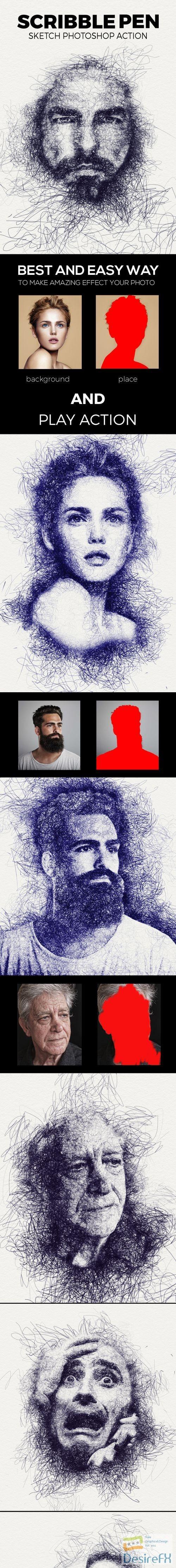 Scribble Pen Sketch Photoshop Action 21886396 Graphicsdesign For Pentul Men