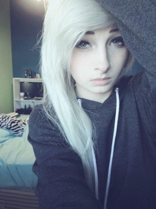 white hair emo scene indie