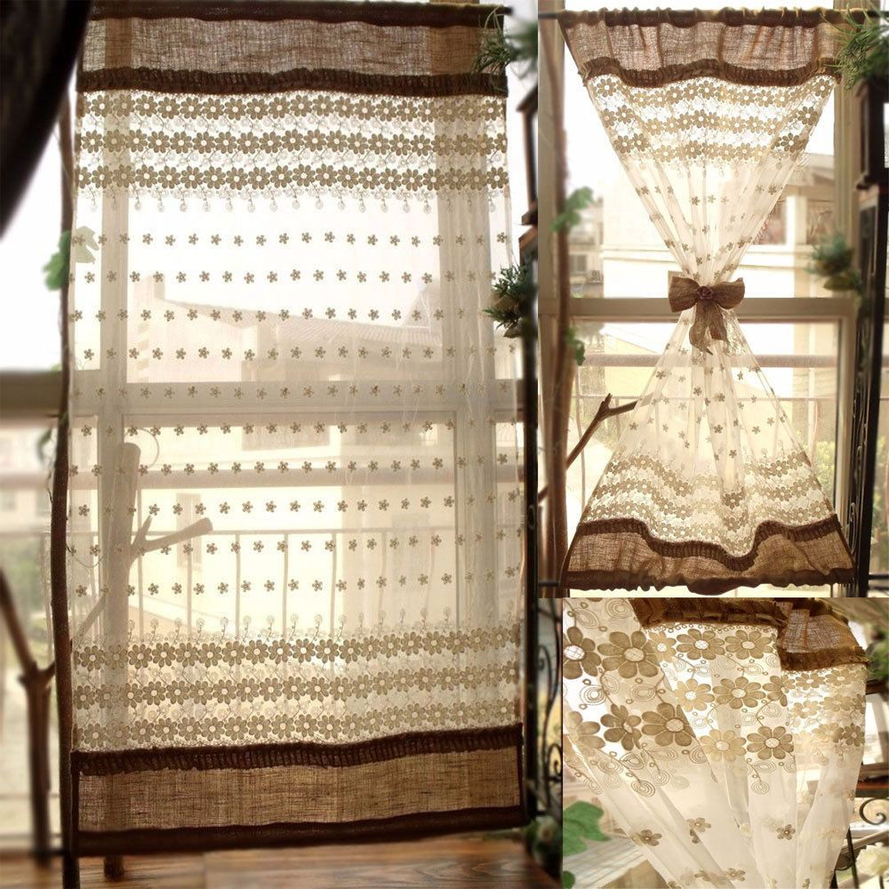 Custom French Door Panel Burlap Lace Curtain Top Bottom Rod Shabby