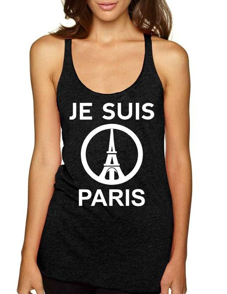 JE SUIS PARIS Eiffel towerI am pairswomens Triblend Tanktoppeace sign tribute anti terror love pairs france #iamparis #jesuisparis #peace